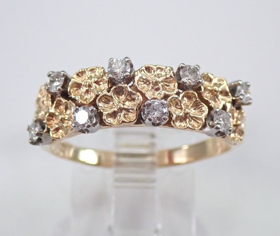 14K Yellow Gold Diamond Flower Wedding Ring Floral Anniversary Band Size 8