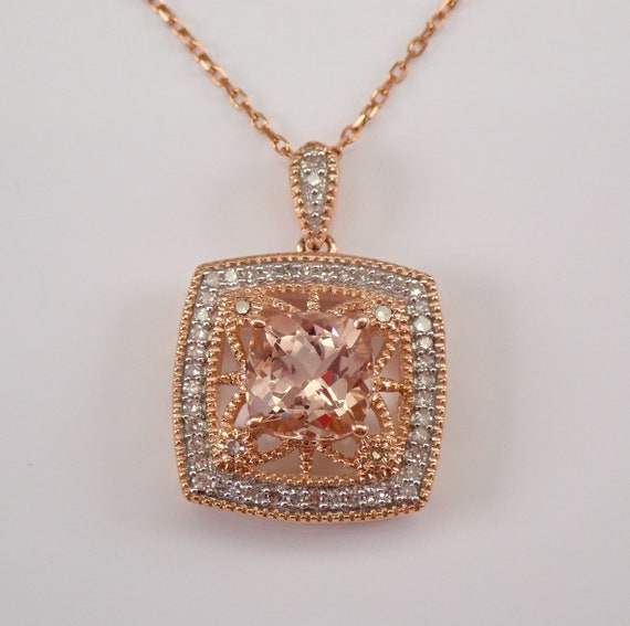"""Diamond and Cushion Cut Morganite Halo Pendant Necklace Rose Gold Wedding Gift 18"""" Chain"""