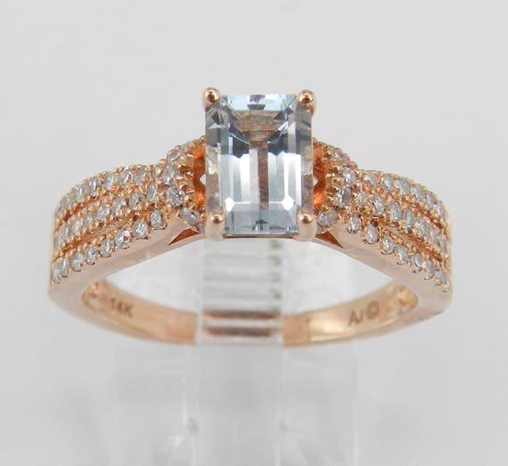 14K Rose Gold Diamond and Emerald Cut Aquamarine Engagement Aqua Ring Size 7 March FREE Sizing