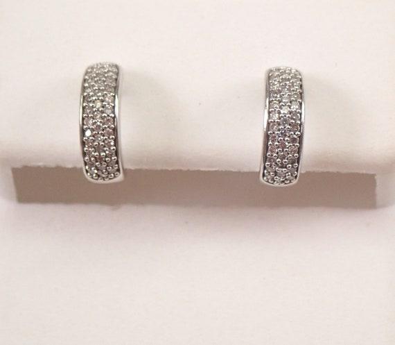 Baby Diamond Earrings Diamond Pave Half Hoop White Gold Hoops