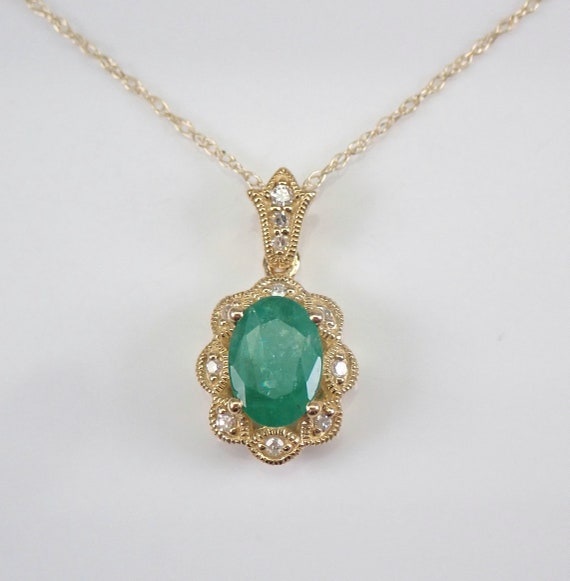 "Yellow Gold Emerald and Diamond Halo Pendant Necklace 18"" Chain May Gemstone"