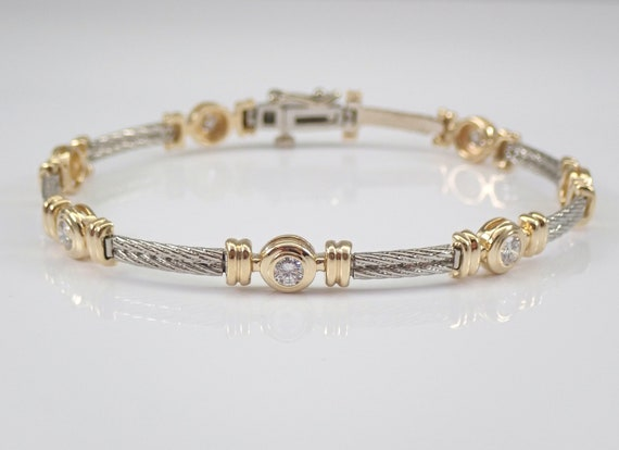 14K Yellow and White Gold Bezel Set 1.40 ct Diamond Station Bracelet H VS