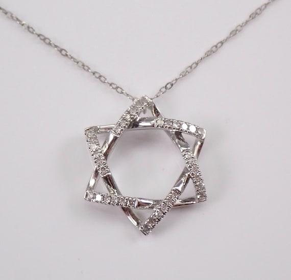 "Diamond Star of David Pendant Necklace White Gold 17"" Chain Jewish Religious Charm"