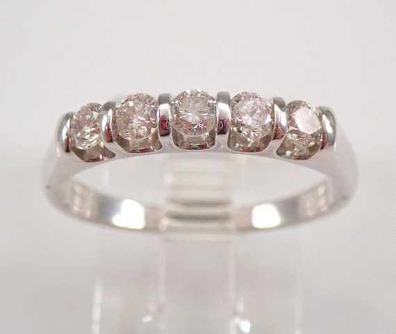 14K White Gold 1/2 ct Diamond Wedding Ring Anniversary Band Size 7.25 FREE SIZING