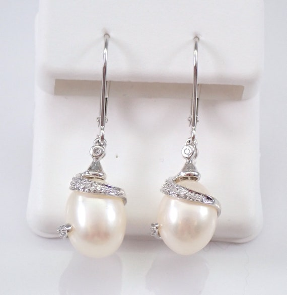 Pearl and Diamond Dangle Drop Earrings White Gold June Birthstone Wedding Gift