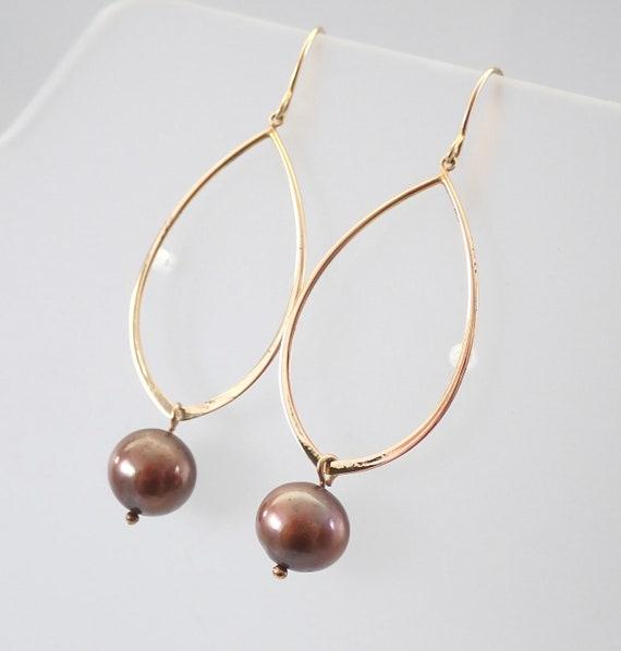 Brown Pearl Dangle Drop Earrings 14K Yellow Gold June Birthstone