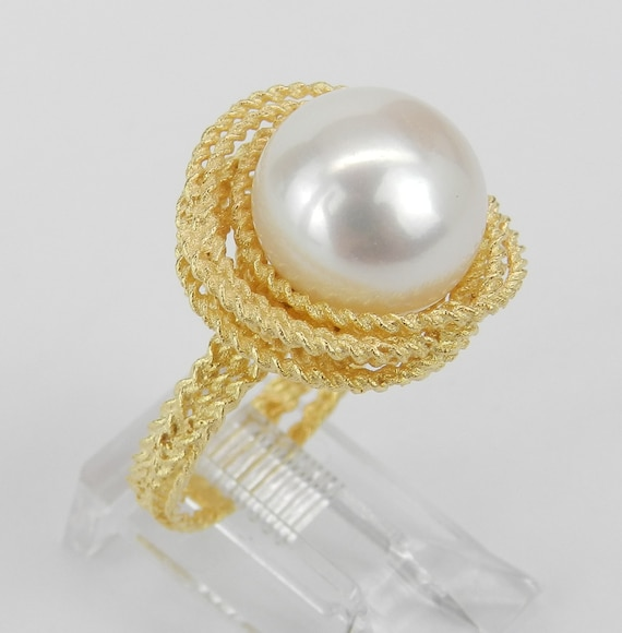 14K Yellow Gold 11.5 mm South Sea Pearl Solitaire Engagement Ring Size 6.75 FREE Sizing