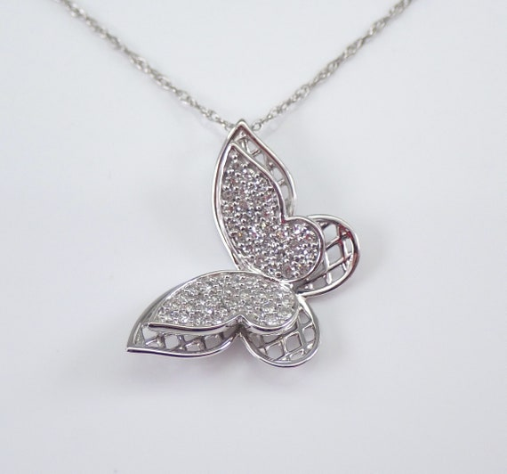 "Diamond Butterfly Necklace Pendant White Gold Chain 18"" FREE SHIPPING"