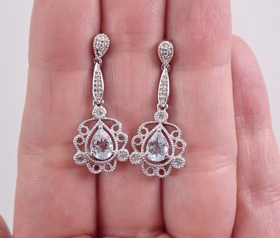 Vintage Style 14K White Gold Aquamarine and Diamond Dangle Drop Earrings Aqua March Gemstone