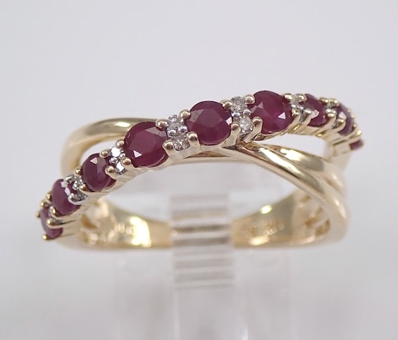Diamond and Ruby Crossover Ring Multi Row Band 14K Yellow Gold Size 7 July Birthstone