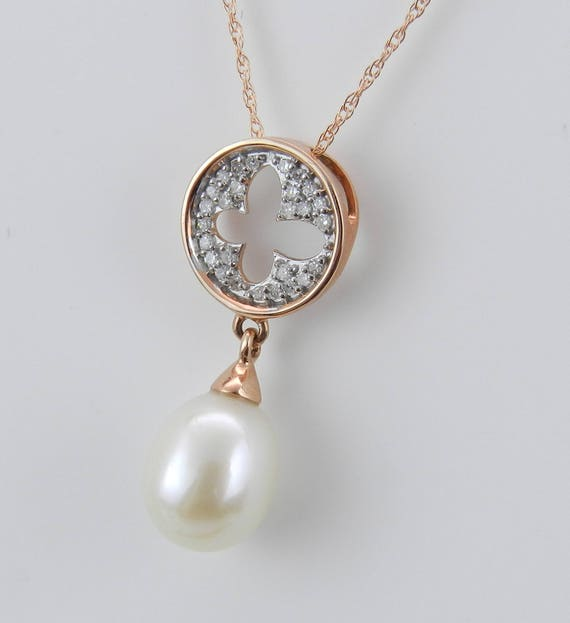 "SALE PRICE! Pearl Necklace, 14K Rose Gold Diamond and Pearl Cluster Pendant Wedding Necklace with 18"" Chain"