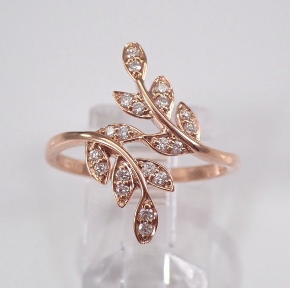 Rose Gold Diamond Crossover Ring Modern Cocktail Band Size 7 Minimalist Jewelry FREE Sizing