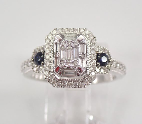 White Gold Diamond and Sapphire Halo Engagement Ring Emerald Cut Cluster Size 7 FREE Sizing