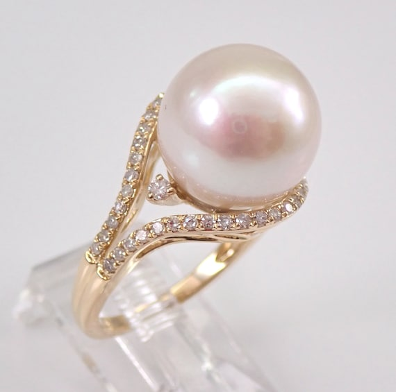 14K Yellow Gold 13 mm Pearl and Diamond Engagement Ring Size 7 June Birthstone FREE Sizing