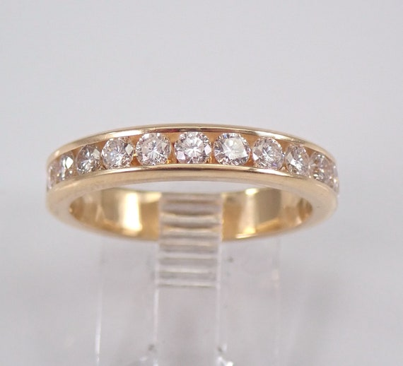 1.68 ct Diamond Eternity Wedding Ring Anniversary Band Stackable 14K Yellow Gold Size 7 Channel Set