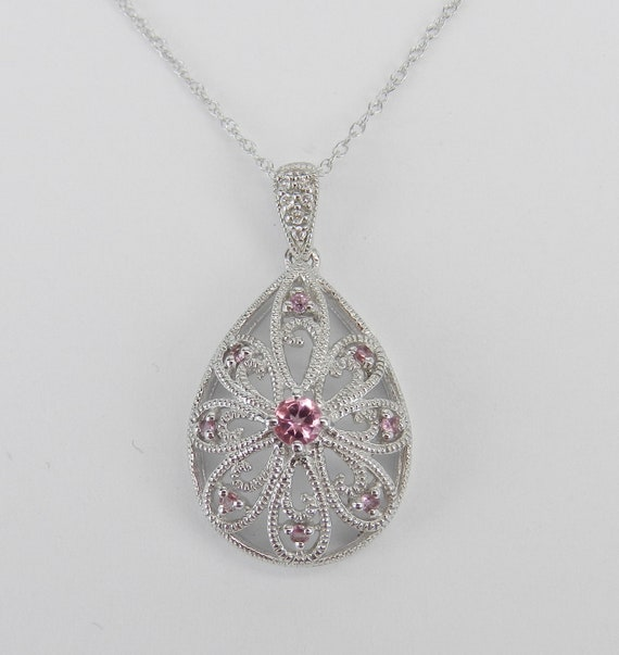 "Antique Style Pink Tourmaline and Diamond Filigree Pendant Necklace 14K White Gold 18"" Chain"