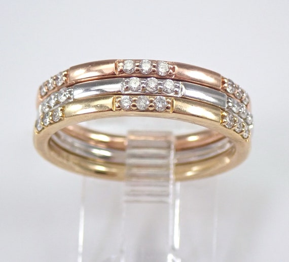 White Yellow Rose Gold Diamond Wedding Ring Anniversary Band Size 7 Stackable Set