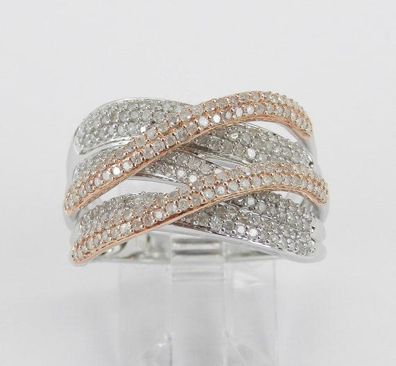 White and Rose Gold Diamond Crossover Anniversary Ring Multi Row Band Size 7