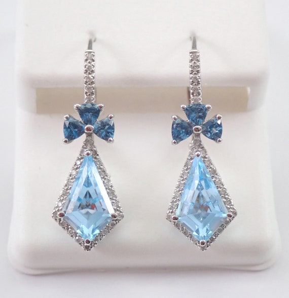 14K White Gold Blue Topaz and Diamond Earrings Kite Shape and Trillion Leverback