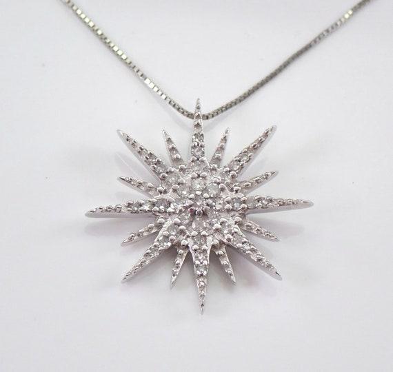 "White Gold Diamond Snowflake Starburst Pendant Cluster Necklace 18"" Chain"
