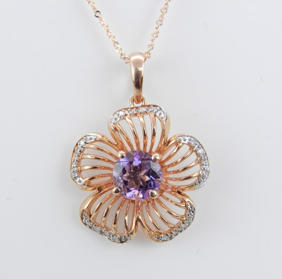 "Diamond and Amethyst Necklace, Amethyst Flower Pendant, 18"" Rose Gold Chain, February Gemstone"