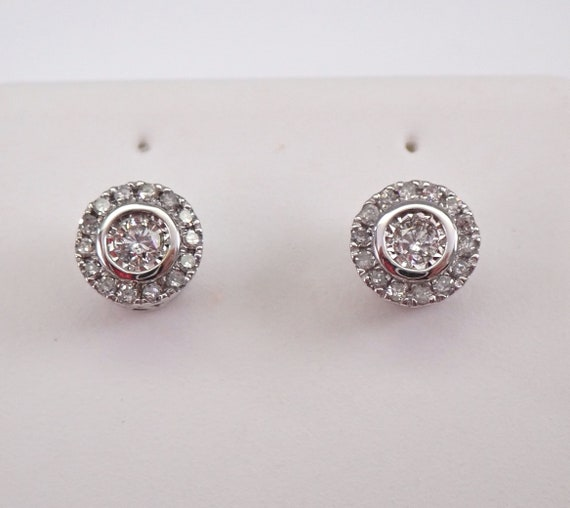 White Gold Diamond Studs Cluster Stud Earrings Wedding Diamond Halo Studs