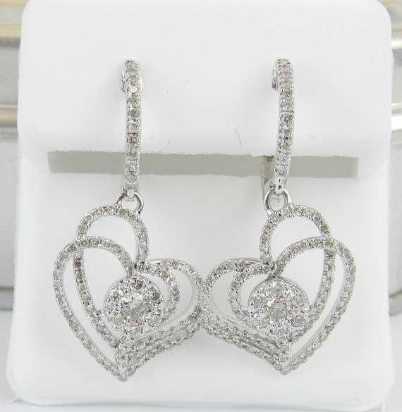 Diamond Earrings Dangle Heart Cluster Earrings White Gold Wedding Gift 1.00 ct
