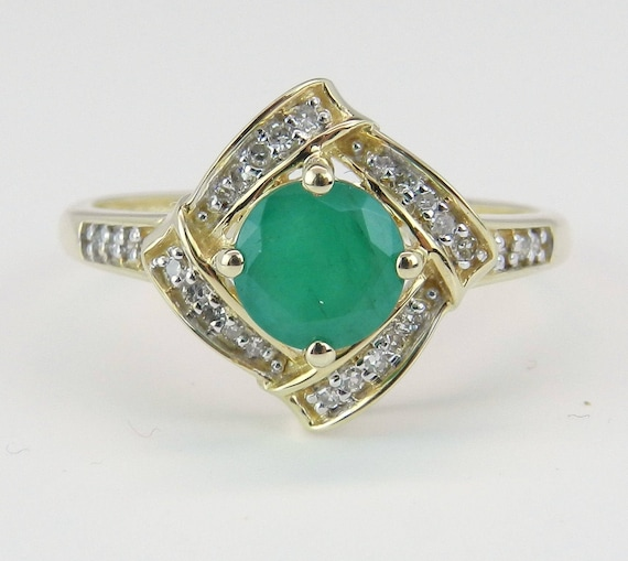 Real Gold Emerald Ring, Emerald and Diamond Engagement Ring, Emerald Promise Ring, 14K Yellow Gold Ring, Size 7.25