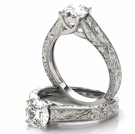 14K Gold Engagement Ring, Hand Engraved Solitaire Ring, Diamond Engagement Ring Setting, Antique Style Semi-Mount
