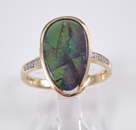 Yellow Gold Diamond and Ammolite Cocktail Ring Size 7 Iridescent Color FREE Sizing