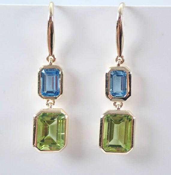 Blue Topaz and Peridot Dangle Drop Earrings 14K Yellow Gold August Gem Kidney Wire