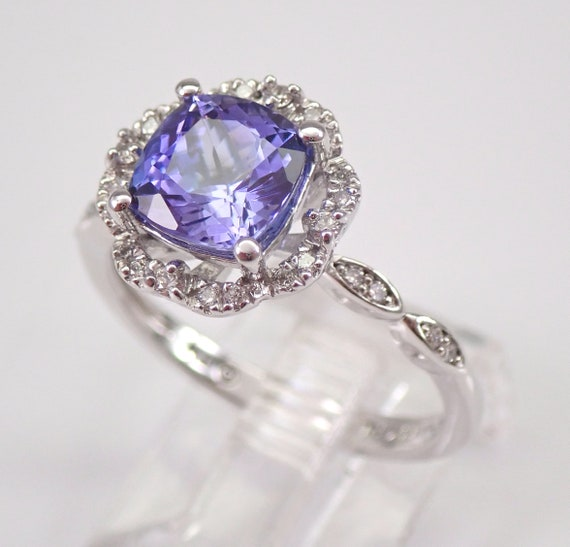 14K White Gold Diamond and Cushion Cut Tanzanite Halo Engagement Ring Size 7