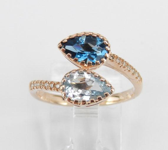 14K Rose Gold Diamond Aquamarine London Blue Topaz Bypass Ring Size 7.25