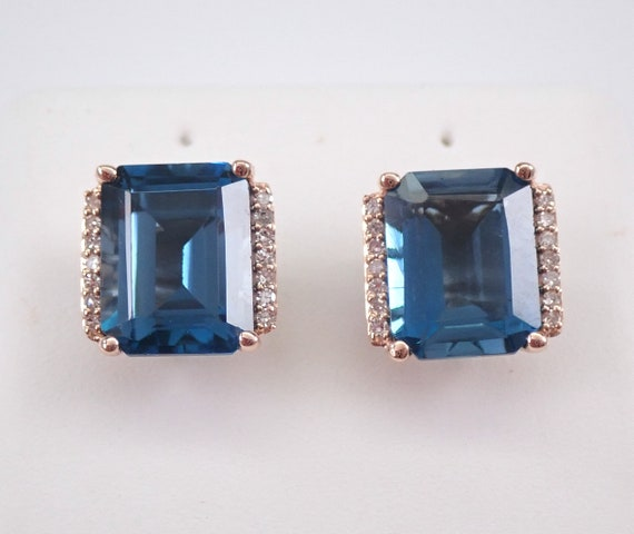 London Blue Topaz and Diamond Stud Earrings Emerald Cut Studs 14K Rose Gold December Birthstone