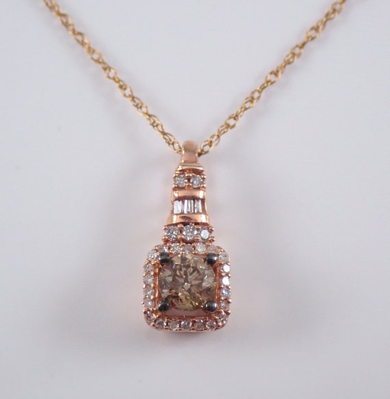 "Rose Gold Diamond Solitaire Halo Pendant Wedding Necklace Chain 18"" Cognac Color"
