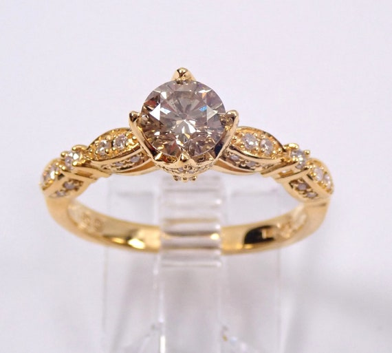 14K Yellow Gold Natural Fancy Cognac Diamond Engagement Ring Size 7