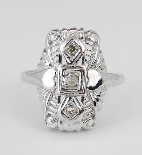 Vintage Diamond Ring, Antique Diamond Ring, 14K White Gold Diamond Ring, Circa 1920's, Heart Design Ring, Size 6