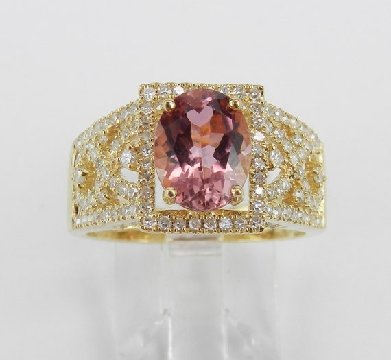 Pink Tourmaline Ring, Tourmaline and Diamond Ring, Pink Gemstone Engagement Ring, 14K Yellow Gold Engagement Ring, October Birthstone Ring