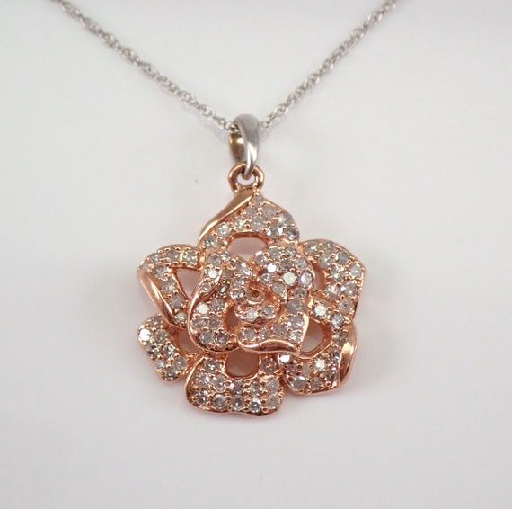 "Rose and White Gold Diamond Flower Cluster Pendant Necklace 18"" Chain Wedding Gift"