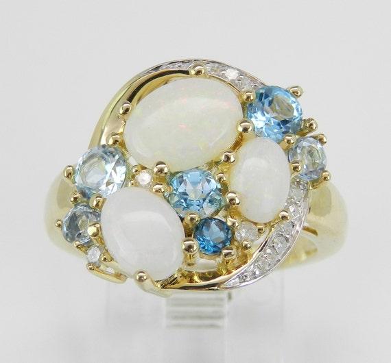 Diamond Opal and Blue Topaz Ring, Yellow Gold Cluster Ring, October Gemstone Ring, December Gemstone Ring, Diamond Ring, Size 7