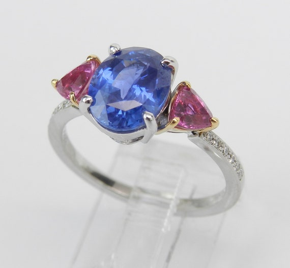 Platinum and 18K Yellow Gold Three Stone Sapphire Engagement Ring, Pink Sapphire Trillion Unique Ring, Size 6.5