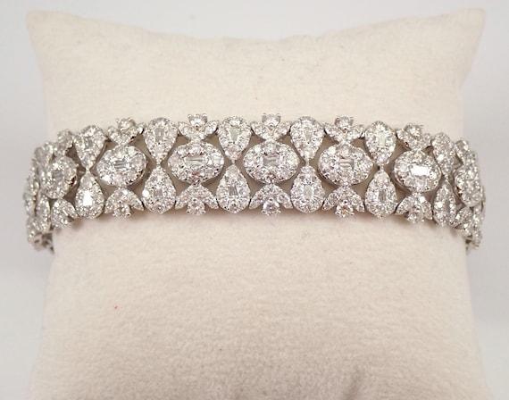 14K White Gold 16.42 ct Diamond Statement Bracelet Tennis Bracelet Great Gift