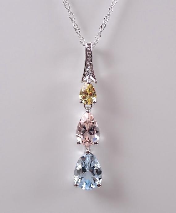 "14K White Gold Diamond Aquamarine Morganite Yellow Sapphire Pendant Necklace 18"" Chain Past Present Future"