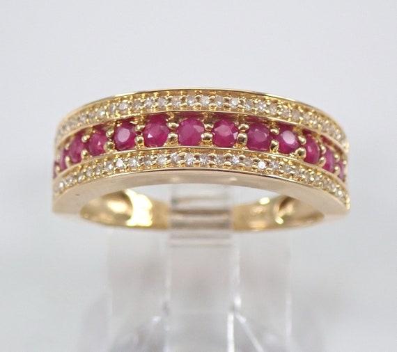 14K Yellow Gold Ruby and Diamond Wedding Ring Anniversary Band Size 7 July Birthstone FREE Sizing