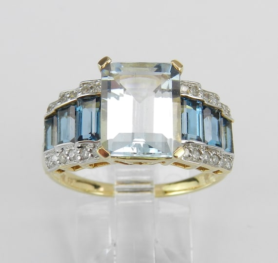 Aquamarine Ring, 14K Yellow Gold Diamond Aquamarine Blue Topaz Ring, Engagement Ring, Emerald Cut Aquamarine Ring
