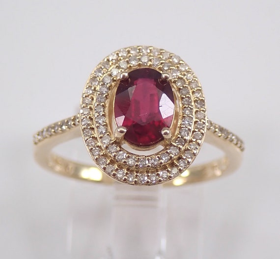 Ruby and Diamond Double Halo Engagement Ring 14K Yellow Gold Size 7 July Birthstone Ring, Ruby Ring FREE Sizing