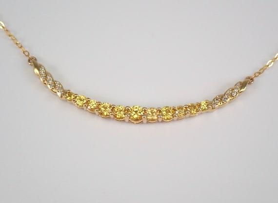 "Diamond and Yellow Sapphire Bar Pendant Necklace Yellow Gold 18"" Chain September Gemstone"