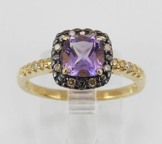 SALE PRICE! Amethyst and Diamond Ring, Diamond Engagement Ring, Amethyst Promise Ring, Yellow Gold Ring, Size 7, February Birthstone Ring