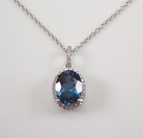"14K White Gold Diamond and Alexandrite Halo Pendant Necklace 18"" Chain June Birthstone"