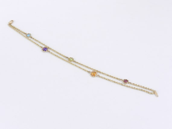 "14K Yellow Gold Double Strand Multi Color Gemstone Flower Tennis Bracelet 8"" Citrine Amethyst Peridot Topaz"